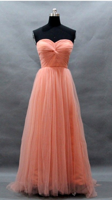 Strapless Sweetheart Twisted Ruched Tulle A-line Floor-Length Bridesmaid Dress