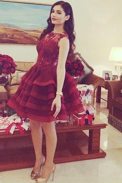 Short Burgundy Lace Homecoming Dresses, 2016 Sexy Sheer Short Party Dress, Layered Organza Homecoming Dresses, Ball Gown Homecoming Dresses 2016, Hot Sale 2016 Burgundy Prom Dresses,Illusion Sheer Cocktail Dresses, Vintage Burgundy Short Prom Party Dress, Cheap Burgundy Cocktail Dress, Cute 8th Grade Burgundy Graduation Dress, Romantic Burgundy Club Dresses