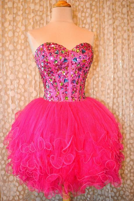 2016 Short Fuchsia Homecoming Dresses, Luxury Crystal Top Party Dress, Short Ball Gown Homecoming Dress, Cheap Corest Junior Party Dress,8th Grade Graduation Dress, Ruffles Tulle Homecoming Dress, Junior High School Party Dress, Backless Short Party Dress 2016