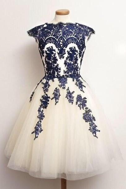 Navy Blue Homecoming Dresses, Ivory Tulle Homecoming Dress, Short Cap Sleeve Homecoming Dress 2017, Junior Party Dresses For Homecoming , A Line Homecoming Dresses, Appliques Prom Dress Short Gowns,Plus Size Lace Homecoming Dress, Sexy Short Cocktail Dress, Cheap Lace Club Dress, New 2017 Short Runway Dresses, 2017Junior Party Dress Gowns