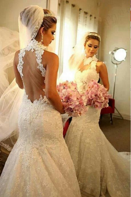 High Neck Wedding Dresses 2016, Sexy Sheer Wedding Bridal Gowns, Court Train Wedding Dress, Sexy See Through Back Bridal Gowns, Plus Size Lace Wedding Dress, Vintage Appliques Bridal Gowns 2016, Sleeveless Wedding Dresses, Cheap Mermaid Wedding Dresses, Sexy Mermaid Wedding Gowns 2016