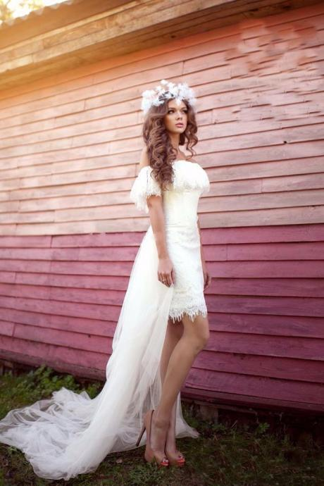 Romantic Off The Shoulder Wedding Dress 2016, Vintage White Lace Bridal Dresses Gowns, 2016 Cheap Lace Wedding Dresses Plus Size, Romantic Beach Wedding Dress With Detachable Train, Vintage Tulle Lace Bridal Gowns 2016,Sexy Backless Lace Wedding Dress2016, Romantic Graden Style Wedding Dress With Train