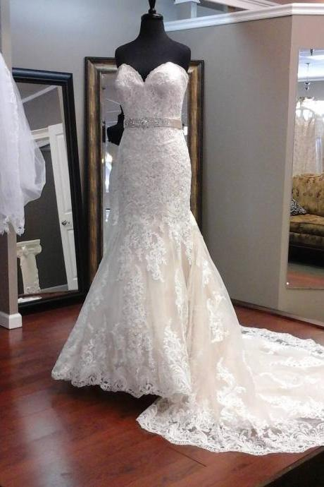 Sexy Mermaid Long Lace Wedding Dresses, Vintage Ivory Lace Wedding Bridal Gowns, 2016 Sexy Sweetheart Appliques Bridal Dresses, Cheap Wedding Dress With Court Train, Romantic Lace Wedding Dress With Waist Sash, Plus Size Appliques Wedding Dress, China Wedding Dress,