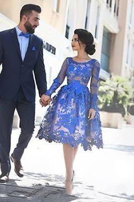 Illusion Prom Dresses, 2017 Knee Length Blue Homecoming Dresses, Sexy See Through Prom Dress, Scoop Neckline Evening Dresses, Long Sleeve Blue Homecoming Dresses 2016, Sexy Sheer Prom Party Dresses, Plus Size Blue Lace Runway Dresses,
