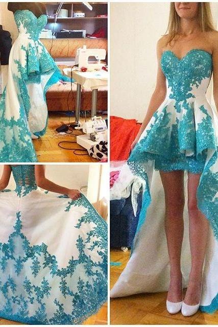 New 2016 Turquoise Homecoming Dresses, Two Toned High Low Homecoming Dresses, Sweetheart Appliques Prom Party Dresses Short Front Long Back Graduation Dresses, Cheap 2016 Sexy Turquoise Prom Party Dresses, Junior Party Dresses 2016, 8th Grade Graduation Dresses