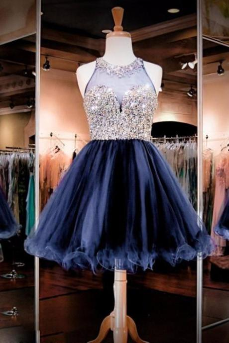 Navy Blue A-line Tulle Homecoming Dress with Crystal Beaded Embellishment