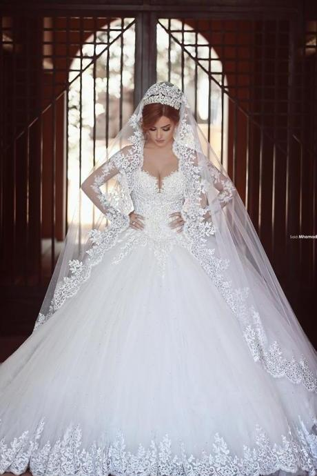 Long Sleeve Lace Wedding Dresses, Sexy Sheer Long Bridal Dress Gowns, Princess Style Wedding Gowns, A Line Wedding Dresses, Romantic White Lace Wedding Dress, Vintage 2016 Customize Bridal Dresses, Bodice Corest Wedding Gowns, Vintage Wedding Dress With Court Train, Lace Appliques Bridal Dress With Long Sleeve 2016