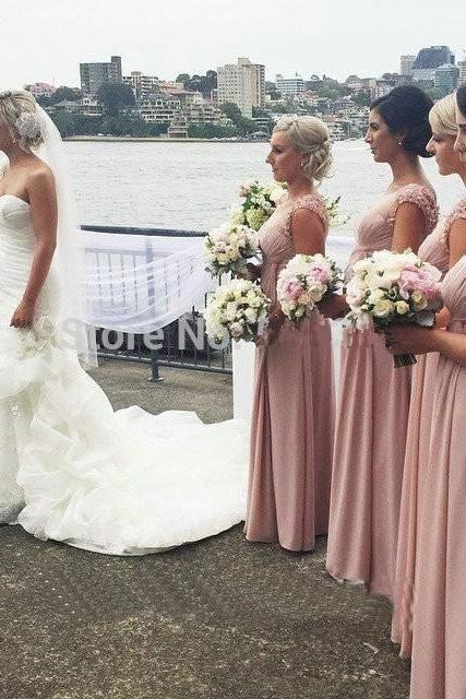 Beautiful Appliques Scoop Cap Sleeves Bridesmaid Dresses, Sexy Nude Back Pink Bridesmaid Dress 2017, Plus Size Long Bridesmaid Dresses Under 100, Chiffon Floor Length Formal Party Gowns for Wedding, A Line Chiffon Cheap Long Maid Of Honor Dresses