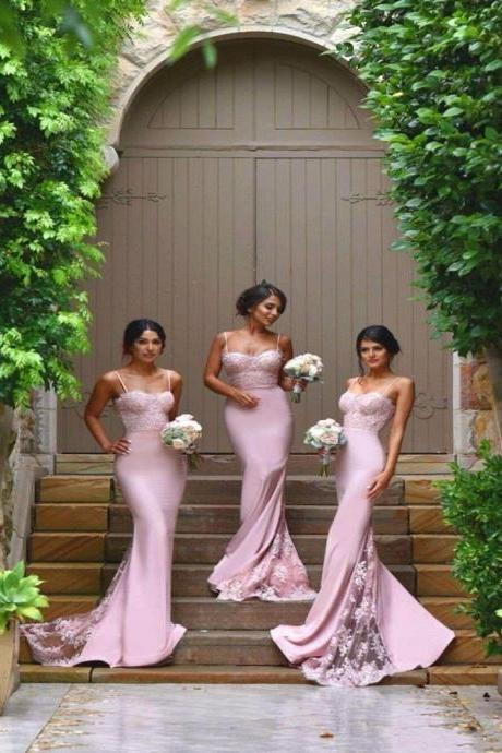 Sexy Spaghetti Strap Long Mermaid Pink Bridesmaid Dresses, Elegant Pink Lace Mermaid Formal Wedding Party Dresses, Cheap 2017 Long Bridesmaid Dress Lace Plus Size,