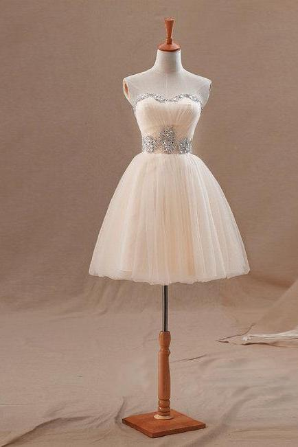 Sweetheart Neckline A-line Tulle Dress with Rhinestone Embellishment