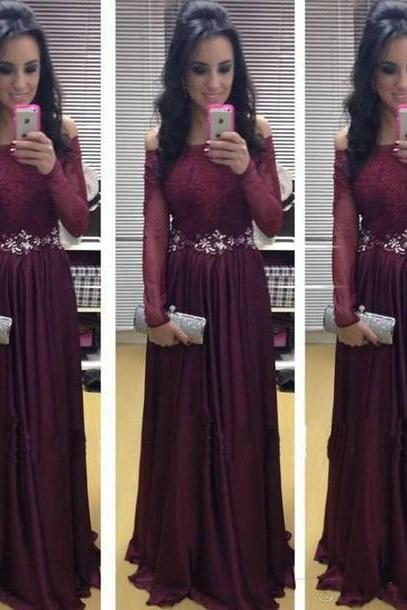 Off The Shoulder Long Sleeve Beaded Dark Burgundy Prom Dresses,A Line Chiffon Crystal Sash Formal Evening Dresses, Cheap 2017 Vintage Burgundy Party Dress