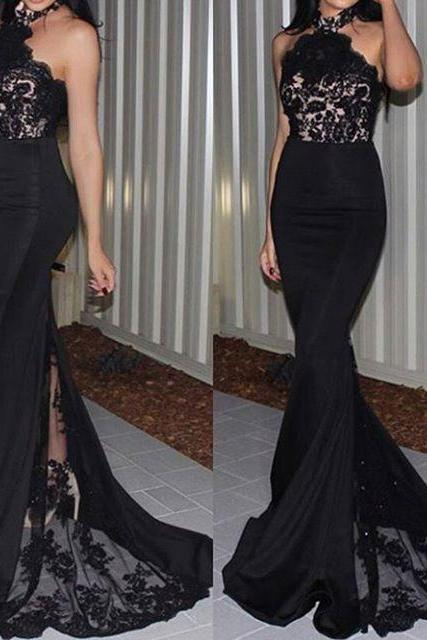 Long Mermaid Black Lace Prom Dresses, Halter Backless Mermaid Evening Dresses, Sexy See Through Pageant Trumpet Party Dresses, Vintage Black Lace Runway Dresses, 2017 Sexy Backless Mermaid Formal Dresses, Vintage BlacK Prom Dresses With Sweep Train 2017