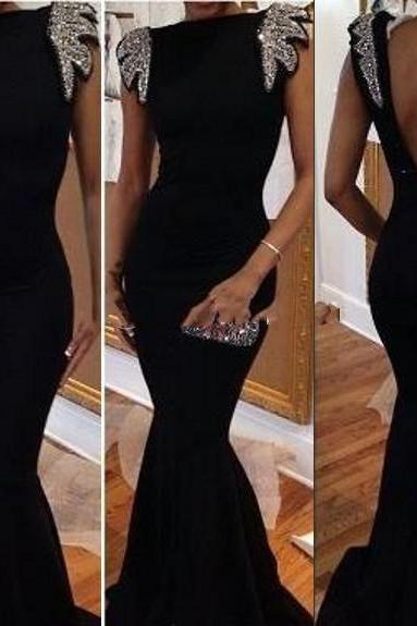 Bateau Black Mermaid Beaded Sleeves Prom Dresses Cheap 2017, Sexy Backless Cap Sleeve Formal Evening Dresses, Hot 2017 Black Sequins Long Trumpet Black Prom Dresses
