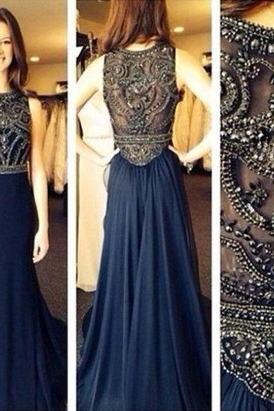 Navy Blue Prom Dresses, Long Prom Dresses, Luxury Beaded Formal Evening Dresses, Sexy Sheer Party Dresses, Customize Navy Blue Prom Party Dresses, Vintage Runway Dresses 2017, Pageant Dresses Evening Gowns