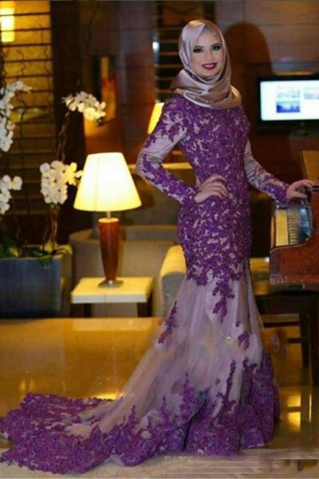 Dubai Style Purple Lace Long Prom Dresses, 2017 Purple Prom Dresses, Sexy Mermaid Pageant Party Dresses, Kaftan Designer Evening Dresses With Long Sleeve, Jewel Neckline Prom Dresses, Vintage Purple Prom Dresses 2017