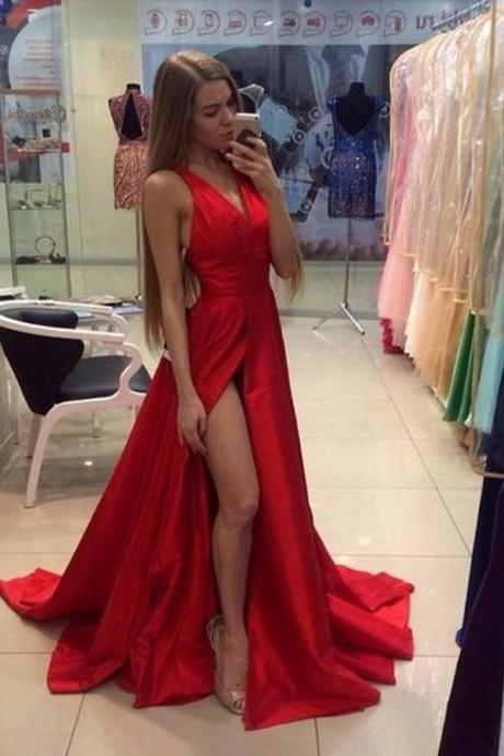 Sexy V Neck Long Red Prom Dresses, 2017 Long Party Dress, Split Front Prom Dresses, A Line Cheap Red Evening Dresses, Cheap 2017 Prom Party Dress, Long Red Prom Dresses 2017