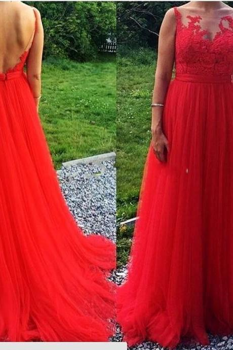 2017 Red Lace Sheer Long Prom Dresses, Vintage Red Party Dress, Sexy Backless Prom Dress Long, Sweep Train Red Celebrity Dresses, A Line Red Tulle Pageant Gala Gowns, Sexy Sheer Red Prom Dresses, Plus Size Red Gala Dresses 2017, Elegant Red Lace Long Red Formal Evening Dresses