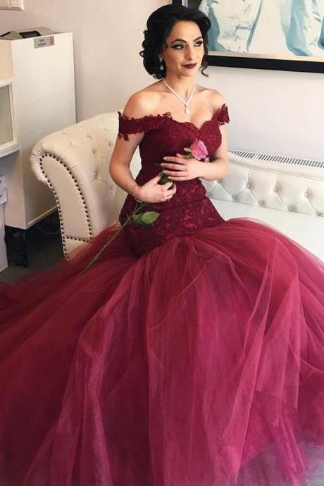 Off The Shoulder Long Burgundy Lace Prom Dresses, Elegant Burgundy Cap Sleeve Evening Formal Gowns, Plus Size Sexy Burgundy Long Prom Dress 2017, Sweep Train Corest Bodice Burgundy Tulle Party Dresses, Pageant Burgundy Appliques Gala Gowns 2017