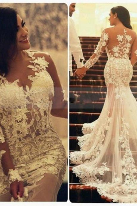 New Arabic 2017 Vintage Illusion Back Long Sleeve Mermaid Wedding Dresses With Appliques Lace, Sexy Sheer Lace Wedding Bridal Dresses Customize, 2017 Cheap Sexy Transparent White Wedding Gowns, Customize China Robe De Marriage,