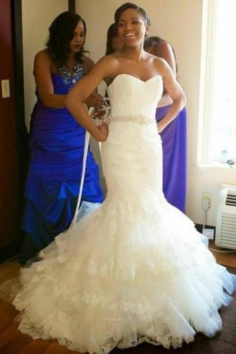 Tiered Lace Mermaid Long Wedding Dresses, 2017 Vintage Ivory Lace Wedding Gowns, Sexy Sweetheart Backless Long Bridal Dresses With Sash, Lace Up Back Corest Appliques Wedding Bridal Dresses, Customize Romantic Long Wedding Dresses, 2017 Customize Ivory Wedding Gowns Plus Size, Vestidos De Novia Court Train Wedding Dresses 2017 Sexy Backless,
