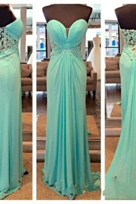 Formal Turquoise Lace Evening Dresses Plus Size 2017 Prom Dress Long Chiffon Straight Sweep Train Pleats Appliques Party Gowns