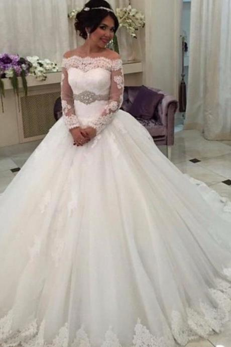 New 2017 Princess Lace Wedding Dresses, Off The Shoulder Wedding Dress Gowns, Long Sleeve Lace Bridal Dress With Waist Sash, Puffy Lace Vintage Wedding Dresses, Princess Ball Gown Lace Bridal Dress, Plus Size Lace Wedding Dress Lace Up Back, 2017 Robe De Marriage Plus Size, Sexy Sheer Lace Bridal Dress 20172017