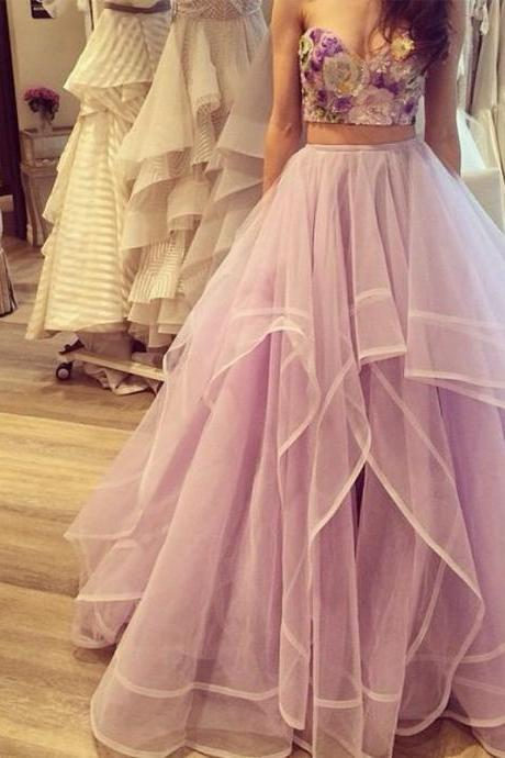 Embroidery Lilac Prom Dress Two Pieces A Line Organza Sweetheart Backless Party Dress Floor Length