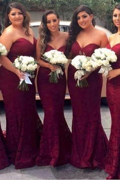Burgundy Lace Bridesmaid Dress Plus Size Cheap 2017 Sweetheart Backless Wedding Party Dress Oversize Long Maid Of Honor Gowns