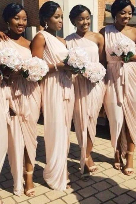 One Shoulder Pink Bridesmaid Dress Cheap 2017 Wedding Party Dress With Sash Split Front Floor Length Formal Wedding Guest Dress