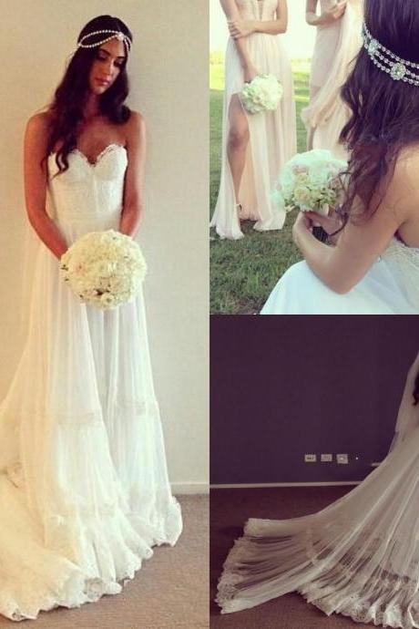 2017 Vintage Dresses Beach Wedding Dress Cheap Dropped Waist Lace Appliques Bohemian Strapless Backless Boho Bridal Gowns With Court Train