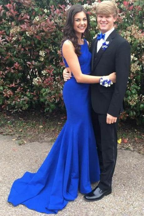 Elegant Royal Blue Prom Dress Sexy Mermaid Simple Party Dress Sweep Train Satin Formal Gowns 2017 Vestidos De Festa