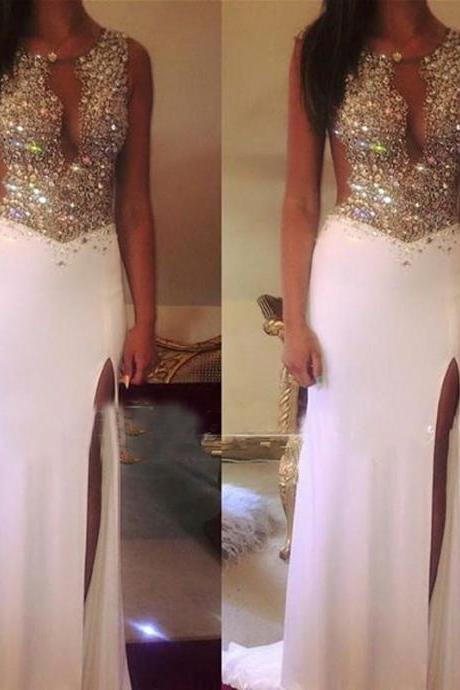 Split Side Shiny Sequins White Prom Dress Long Chiffon Mermaid Party Dress 2017 Vestidos De Festa See Through Illusion Back Gowns