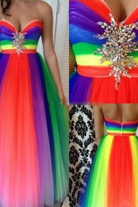 Rainbow Beaded Prom Dresses Sweetheart Crystal Backless Evening Dress Sweep Train Spring Plus Size Wedding Formal Party Gowns