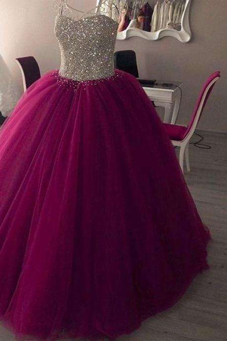 Elegant Purple Quinceanera Dresses For 15 Year Ball Gown Cheap Crystal Puffy Birthday Party Dress For Debutante Gowns