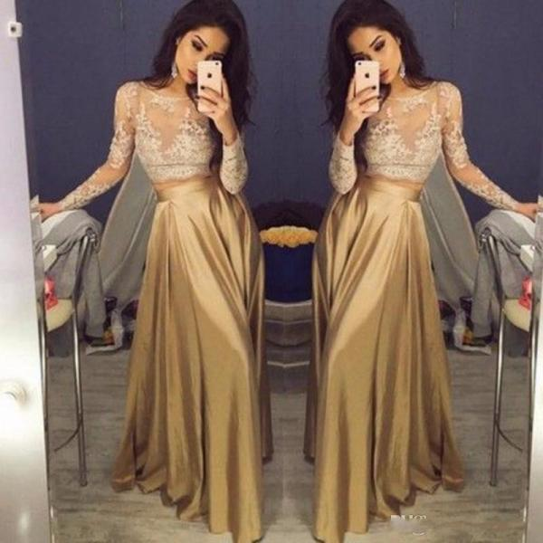 Beautiful Lace Long Sleeve Gold Two Piece Prom Dresses 2018 Satin Cheap Prom Gowns Sheer Champagne Party Dress