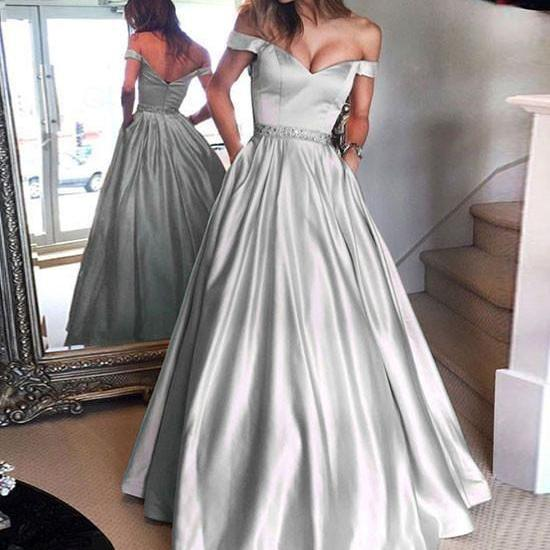 Silver Prom Dresses Long 2019 A-line Off the Shoulder Short Sleeves Beaded Sash Satin Floor Length Formal Evening Dress Party Gown