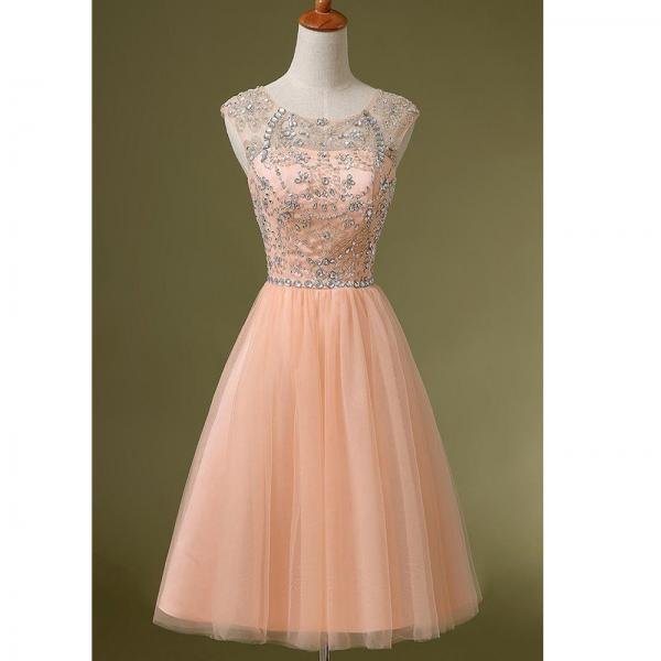 Short Peach Party Dresses, Luxury Beaded Short Homecoming Dresses, Cheap 2016 Short Junior Party Dresses, Sweet Tulle 8th Grade Prom Dresses,Sheer Beach Prom Dress, 2016 Beaded Homecoming Dress, Sexy Open Back Short Prom Dress, Homecoming Dresses 2016.A Line Homecoming Party Dress
