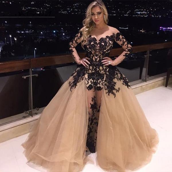 Sheer lace prom dresses 2017