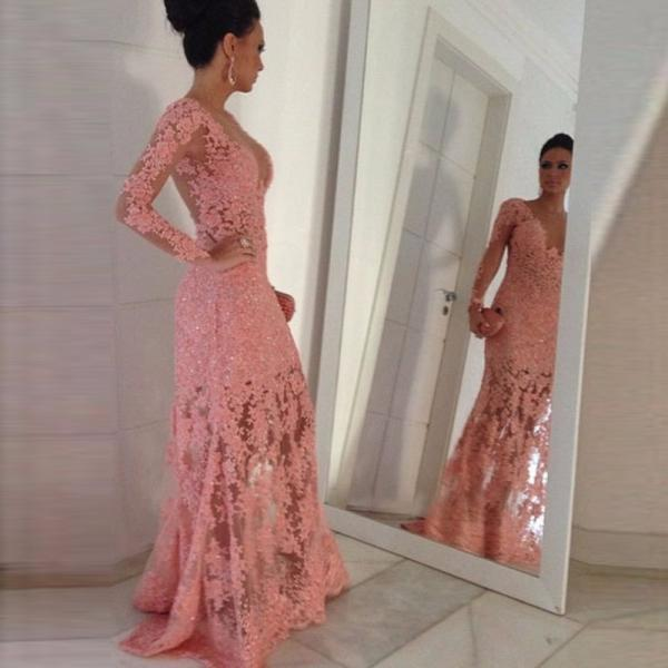 Elegant Pink Lace Prom Dress With Long Sleeve Cheap 2017 Sexy Sheer Party Dresses A Line Floor Length See Through Back Gala Gowns