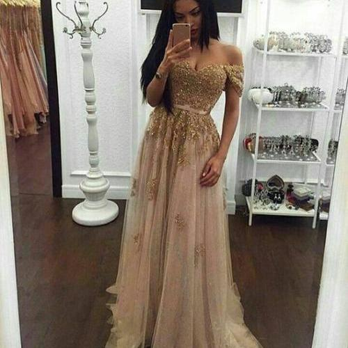 Prom Dress 2017 Sexy Off The Shoulder Party Dress Lace Appliques A Line Sweetheart Backless Tulle Pagenat Gala Gowns