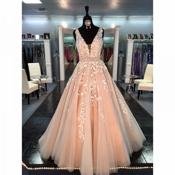 Real Image Champagne Prom Dresses Long 2017 Sexy Deep V-Neck Vestidos De Festa A-Line Formal Evening Gowns For Women